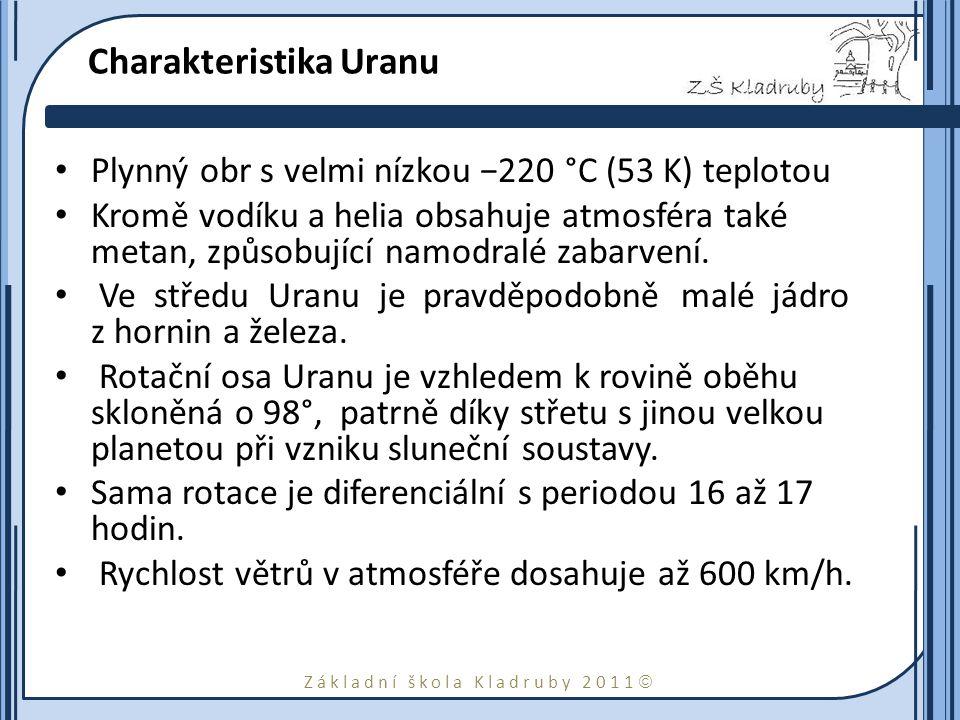 Základní škola Kladruby 2011  Charakteristika Uranu Plynný obr s velmi nízkou −220 °C (53 K) teplotou Kromě vodíku a helia obsahuje atmosféra také me