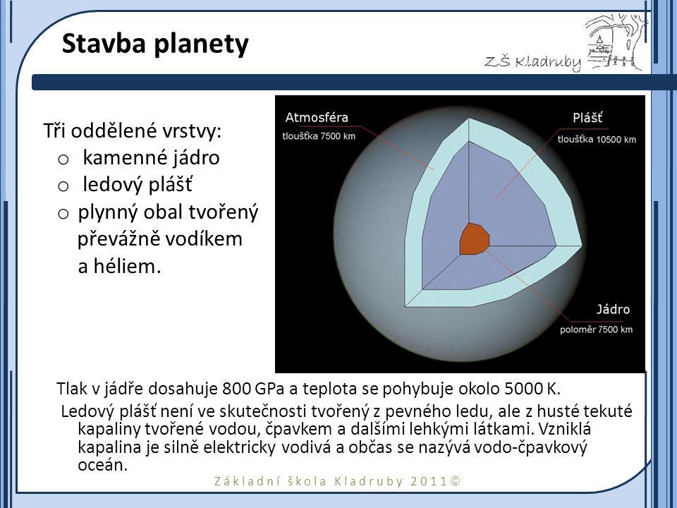 Základní škola Kladruby 2011  Prstence a měsíce Planeta má 13 málo patrných mladých prstenců, složených z tmavých balvanů o velikosti od 10 cm do 30 m.