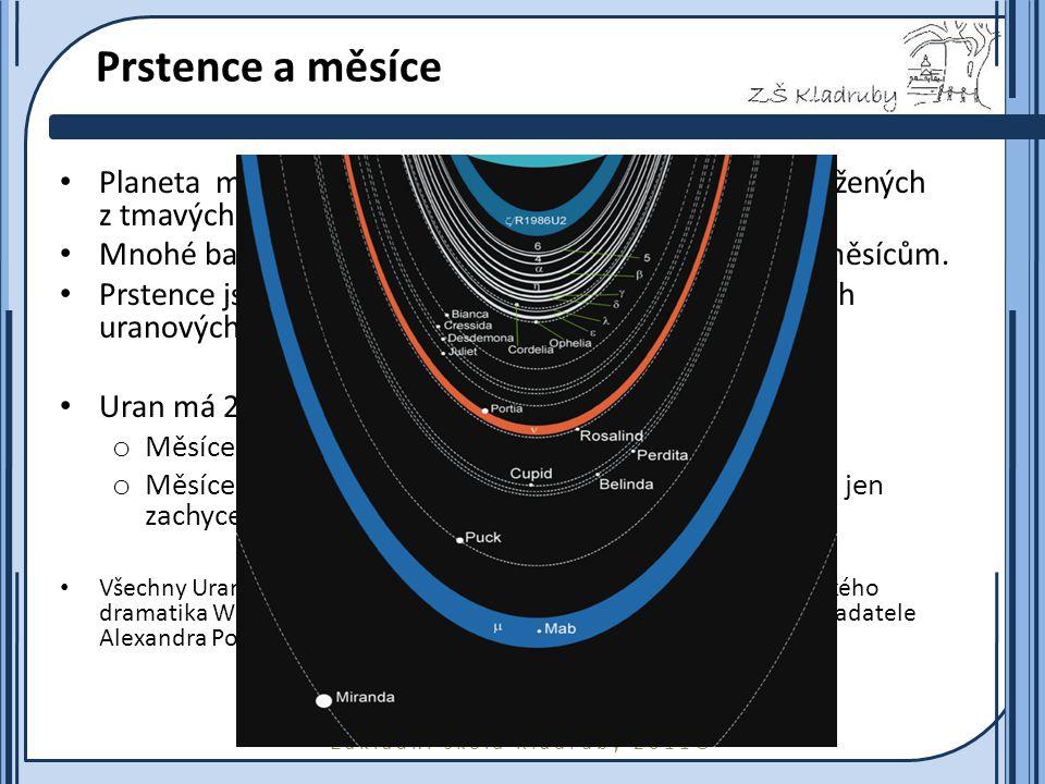 Základní škola Kladruby 2011  Základní data o Uranu hmotnost8,7×10 25 kg Rovníkový poloměr25 559 km hustota 1270 kg×m -3 povrchová teplota – 220 °C doba otočení kolem osy 17 h 14 min sklon rotační osy 98° doba oběhu kolem Slunce84 let průměrná vzdálenost od Slunce2,86×10 9 km magnetické pole na rovníku23 μT počet měsíců27