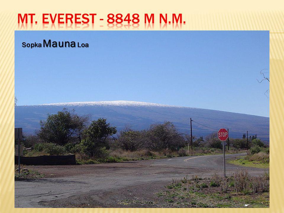  Everest je horou, jejíž vrcholek je nejvýše nad mořskou hladinou  Za nejvyšší horu světa by mohla být pokládána také Mauna Loa na Havaji, která je nejvyšší horou od své základny, ukryté pod mořskou hladinou na oceánském dně  Mauna Loa takto přesahuje 9 km, ale nad moře ční pouhými 4 170 metry Sopka Mauna Loa