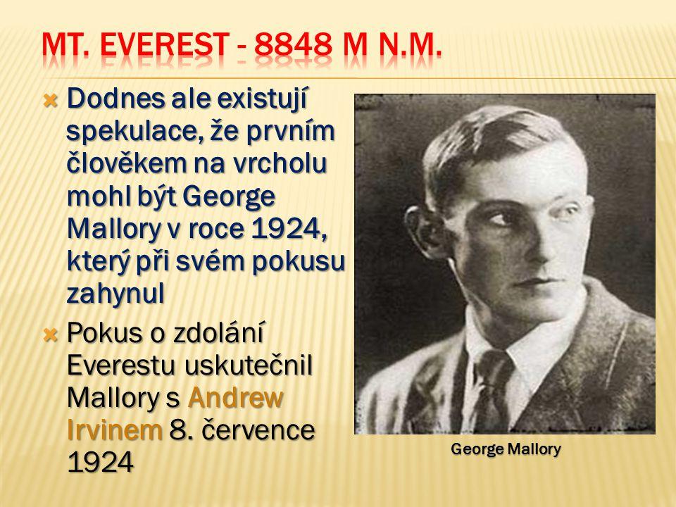  Dodnes ale existují spekulace, že prvním člověkem na vrcholu mohl být George Mallory v roce 1924, který při svém pokusu zahynul  Pokus o zdolání Everestu uskutečnil Mallory s Andrew Irvinem 8.