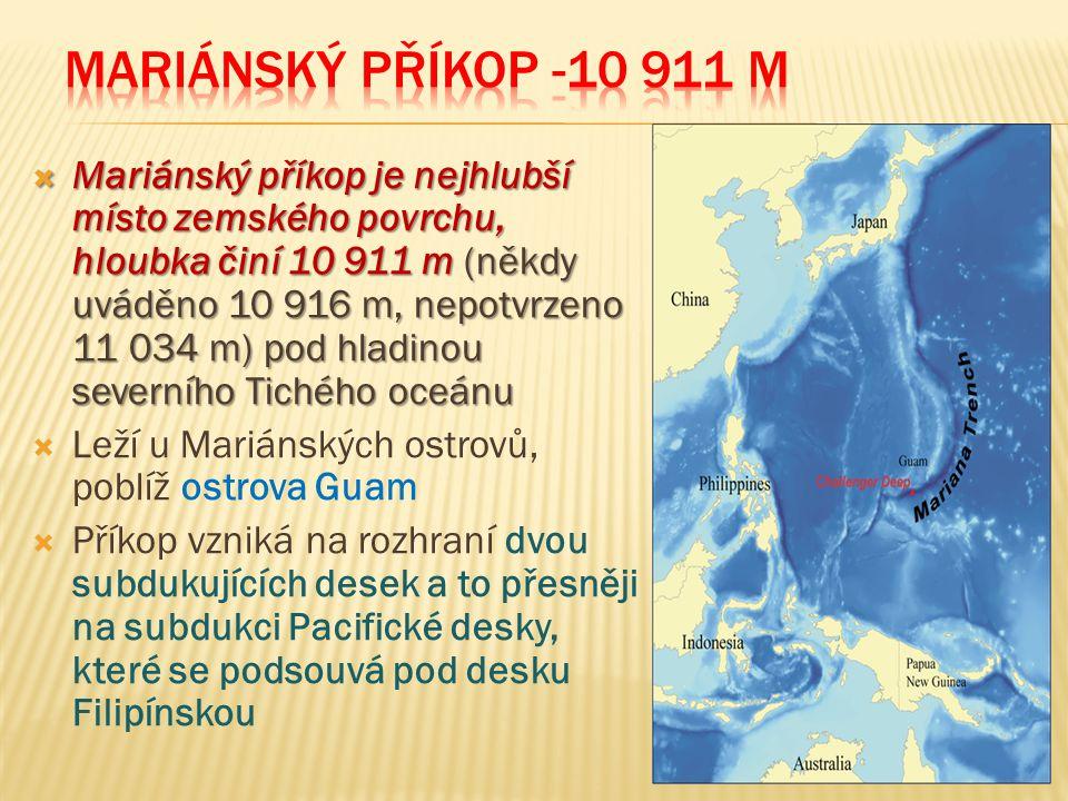  Mariánský příkop je nejhlubší místo zemského povrchu, hloubka činí 10 911 m (někdy uváděno 10 916 m, nepotvrzeno 11 034 m) pod hladinou severního Tichého oceánu  Leží u Mariánských ostrovů, poblíž ostrova Guam  Příkop vzniká na rozhraní dvou subdukujících desek a to přesněji na subdukci Pacifické desky, které se podsouvá pod desku Filipínskou