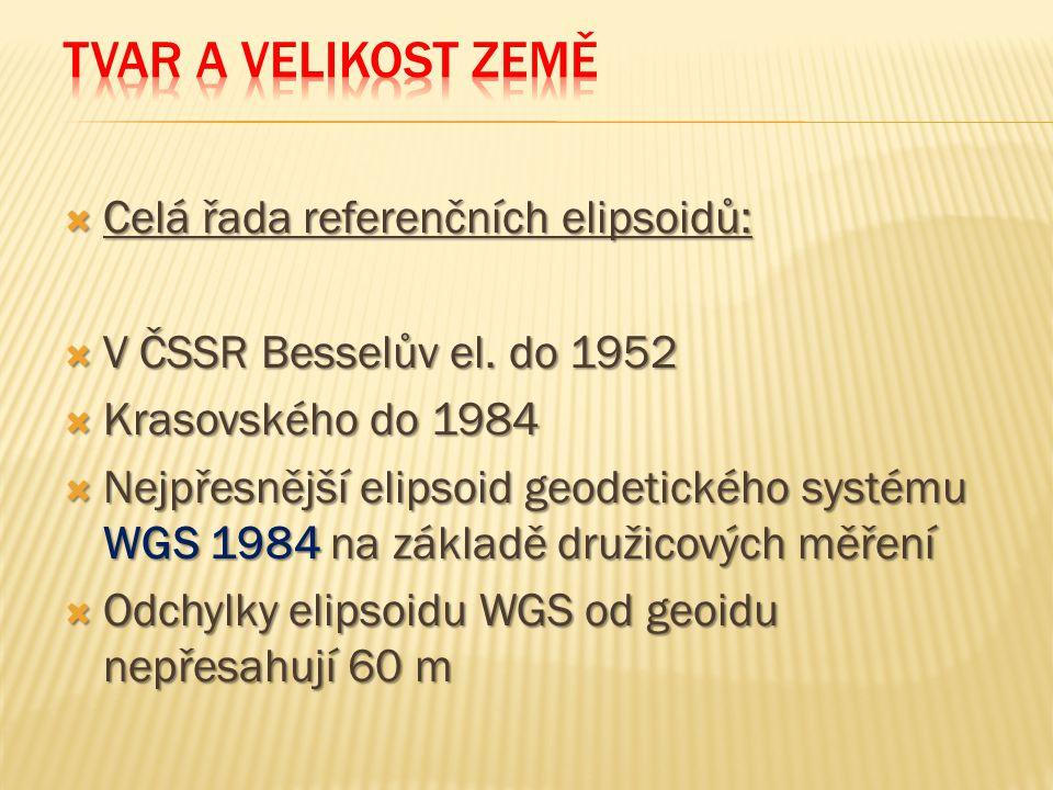  Celá řada referenčních elipsoidů:  V ČSSR Besselův el.