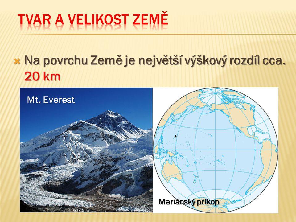  Na povrchu Země je největší výškový rozdíl cca. 20 km Mt. Everest Mariánský příkop