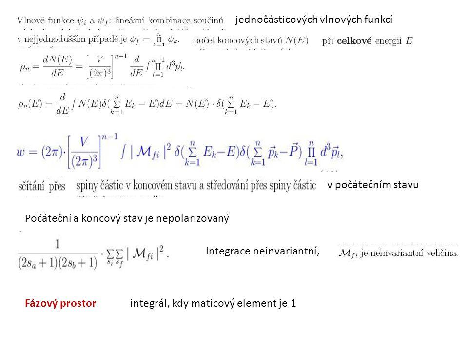 jednočásticových vlnových funkcí v počátečním stavu Integrace neinvariantní, Počáteční a koncový stav je nepolarizovaný Fázový prostor integrál, kdy m