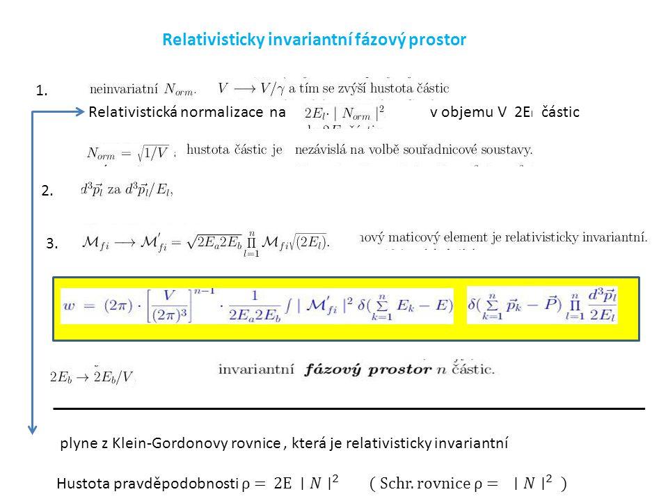 Relativisticky invariantní fázový prostor 1. Relativistická normalizace nav objemu V 2E l částic 2. 3.