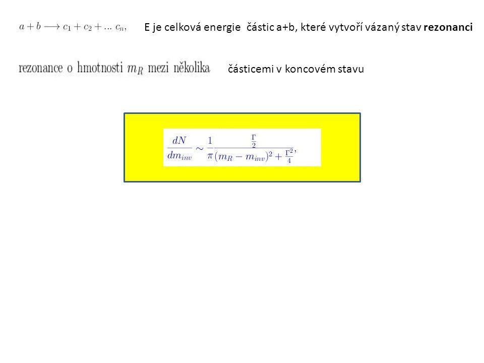 E je celková energie částic a+b, které vytvoří vázaný stav rezonanci částicemi v koncovém stavu