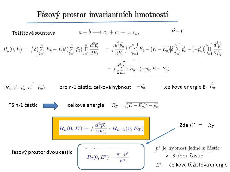 Těžišťová soustava pro n-1 částic, celková hybnost,celková energie E- TS n-1 částic celková energie fázový prostor dvou cástic v TS obou částic celkov