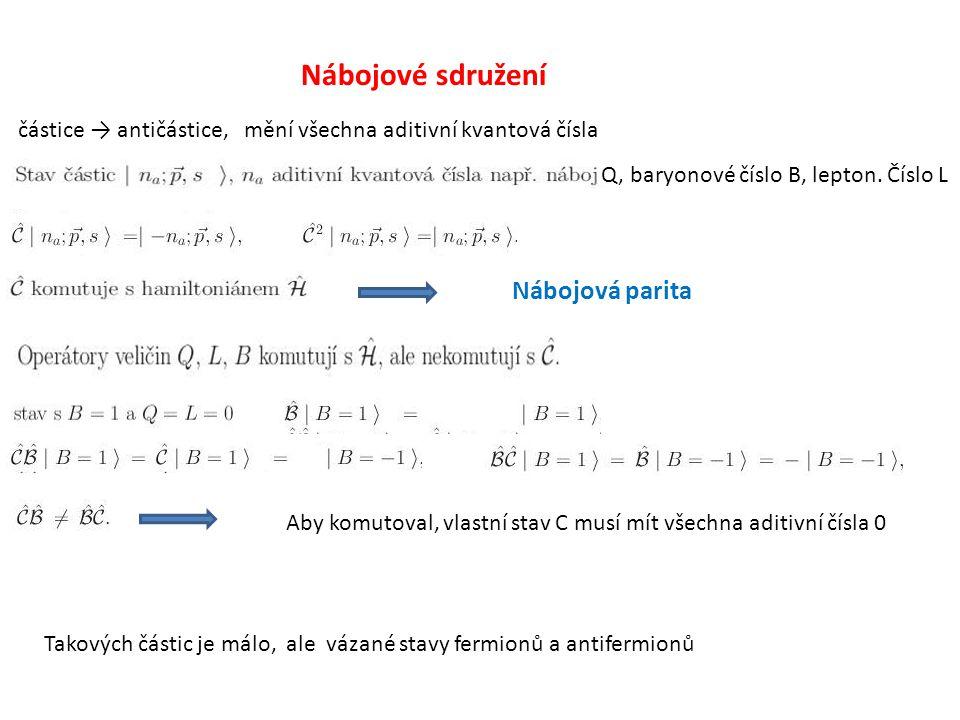 Nábojové sdružení částice → antičástice, mění všechna aditivní kvantová čísla Nábojová parita Q, baryonové číslo B, lepton. Číslo L Aby komutoval, vla
