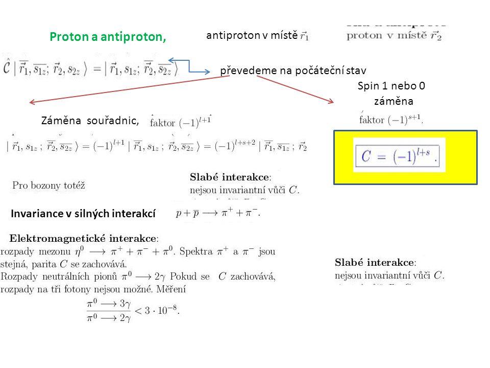 Proton a antiproton, antiproton v místě převedeme na počáteční stav Záměna souřadnic, Spin 1 nebo 0 záměna Invariance v silných interakcí