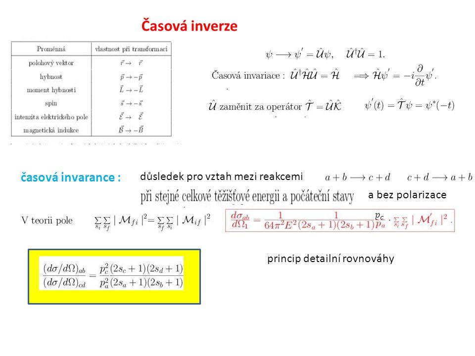 Časová inverze časová invarance : důsledek pro vztah mezi reakcemi a bez polarizace princip detailní rovnováhy