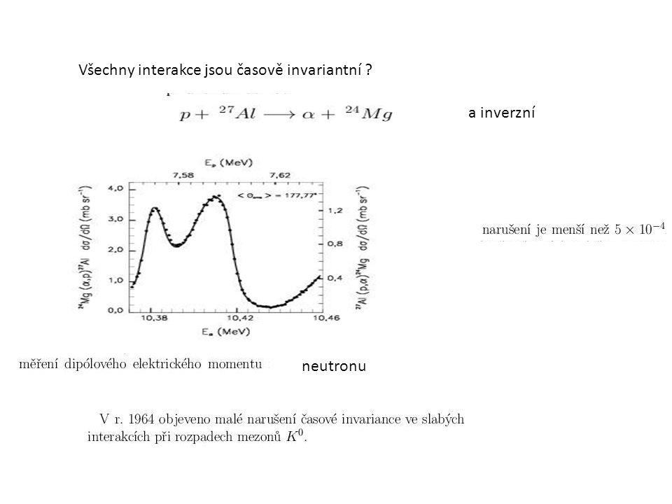 Všechny interakce jsou časově invariantní ? a inverzní neutronu