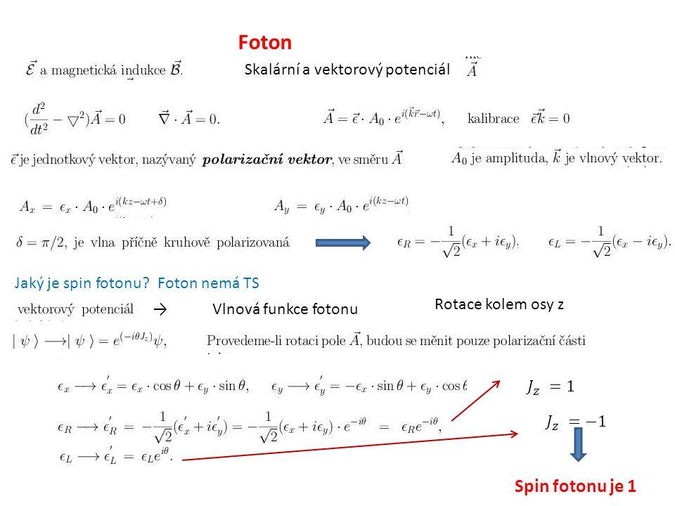 Foton Skalární a vektorový potenciál Jaký je spin fotonu? Foton nemá TS →Vlnová funkce fotonu Rotace kolem osy z Spin fotonu je 1