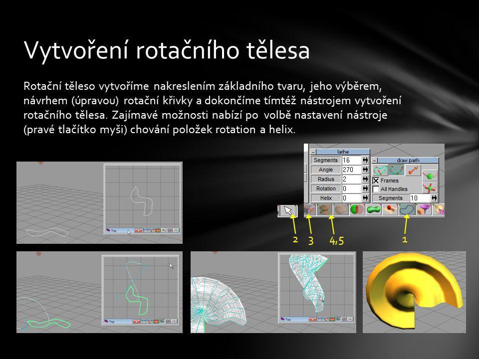 Rotační těleso vytvoříme nakreslením základního tvaru, jeho výběrem, návrhem (úpravou) rotační křivky a dokončíme tímtéž nástrojem vytvoření rotačního