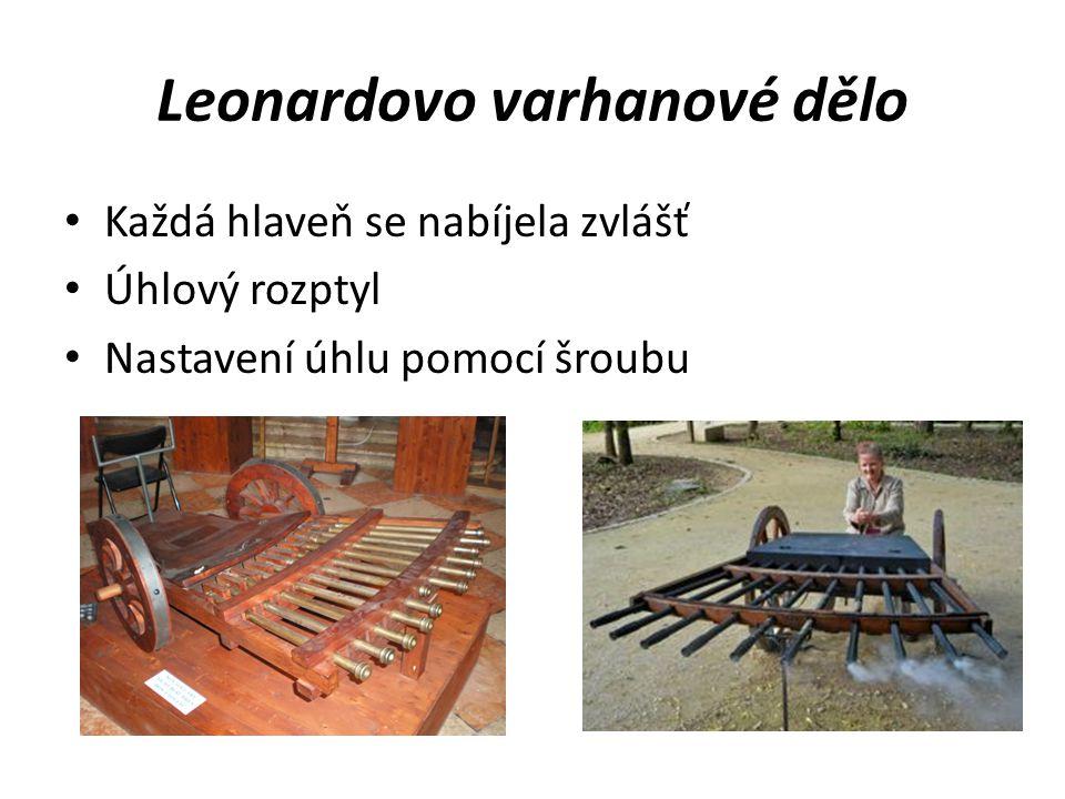 Leonardovo varhanové dělo Každá hlaveň se nabíjela zvlášť Úhlový rozptyl Nastavení úhlu pomocí šroubu