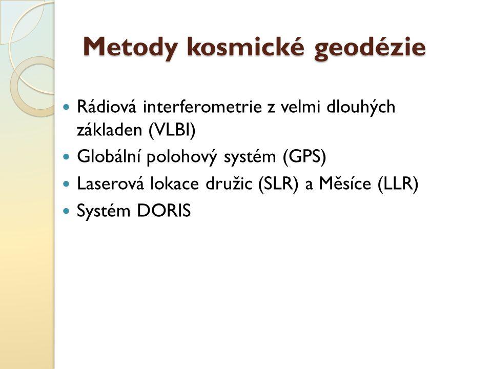 Metody kosmické geodézie Rádiová interferometrie z velmi dlouhých základen (VLBI) Globální polohový systém (GPS) Laserová lokace družic (SLR) a Měsíce
