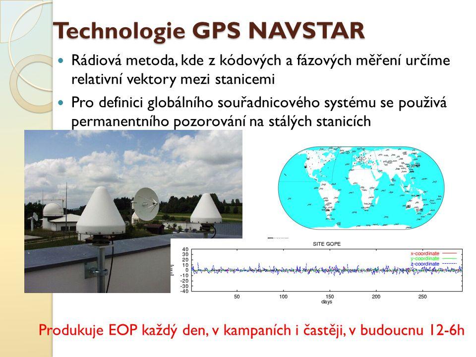 Technologie GPS NAVSTAR Rádiová metoda, kde z kódových a fázových měření určíme relativní vektory mezi stanicemi Pro definici globálního souřadnicovéh