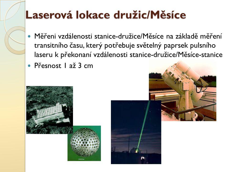 Laserová lokace družic/Měsíce Měřeni vzdálenosti stanice-družice/Měsíce na základě měření transitního času, který potřebuje světelný paprsek pulsního