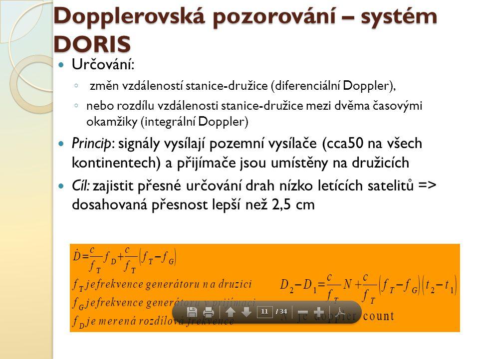 Dopplerovská pozorování – systém DORIS Určování: ◦ změn vzdáleností stanice-družice (diferenciální Doppler), ◦ nebo rozdílu vzdálenosti stanice-družic