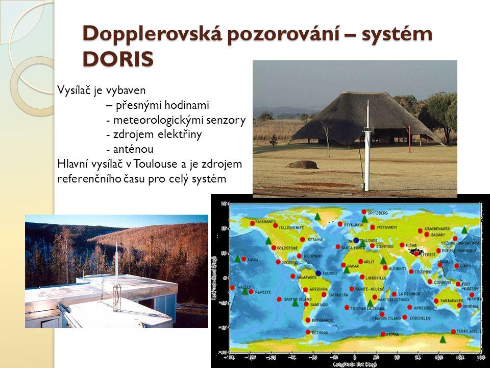 Dopplerovská pozorování – systém DORIS Vysílač je vybaven – přesnými hodinami - meteorologickými senzory - zdrojem elektřiny - anténou Hlavní vysílač