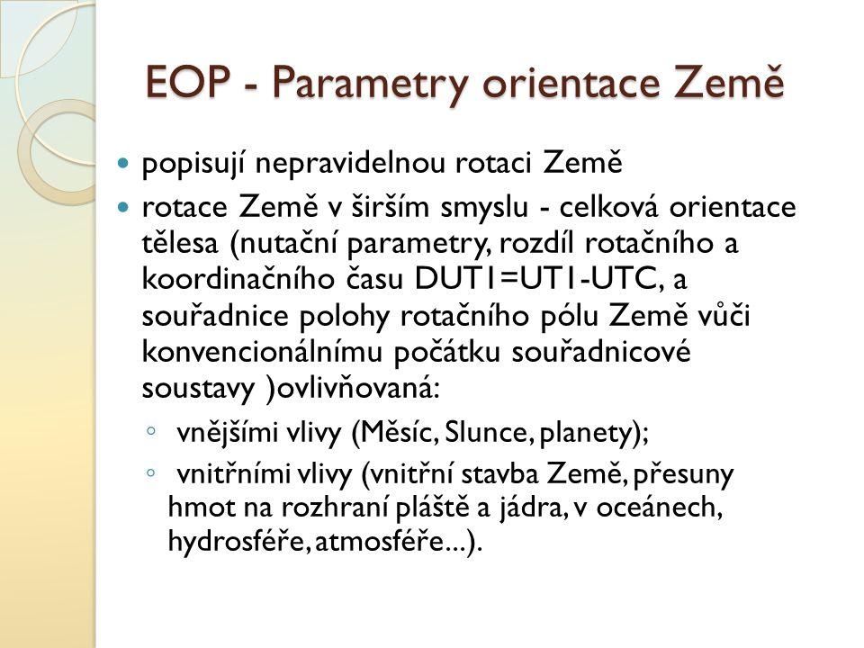 EOP - Parametry orientace Země popisují nepravidelnou rotaci Země rotace Země v širším smyslu - celková orientace tělesa (nutační parametry, rozdíl ro