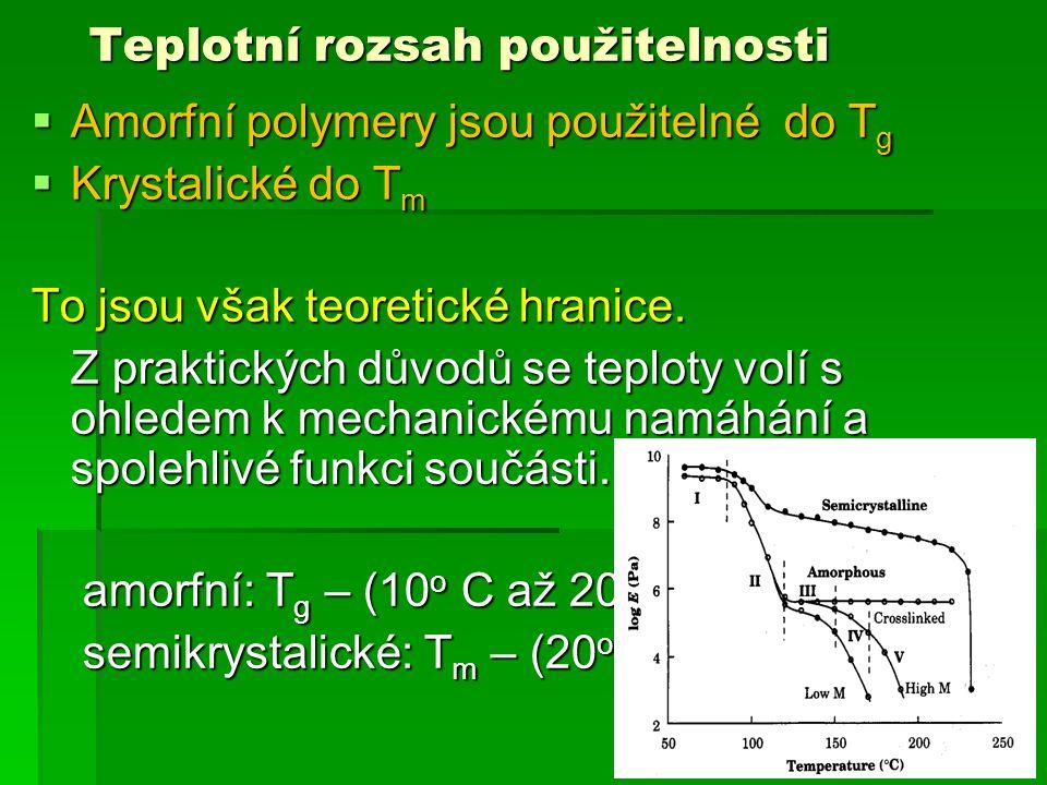  Amorfní polymery jsou použitelné do T g  Krystalické do T m To jsou však teoretické hranice. Z praktických důvodů se teploty volí s ohledem k mecha