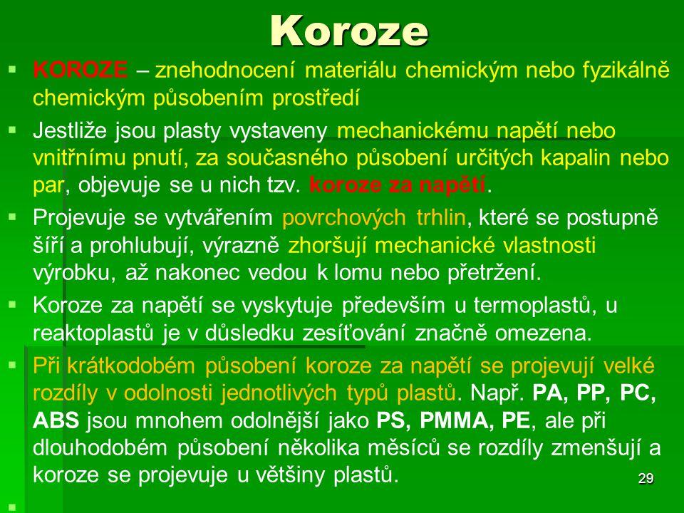 Koroze   KOROZE – znehodnocení materiálu chemickým nebo fyzikálně chemickým působením prostředí   Jestliže jsou plasty vystaveny mechanickému napě