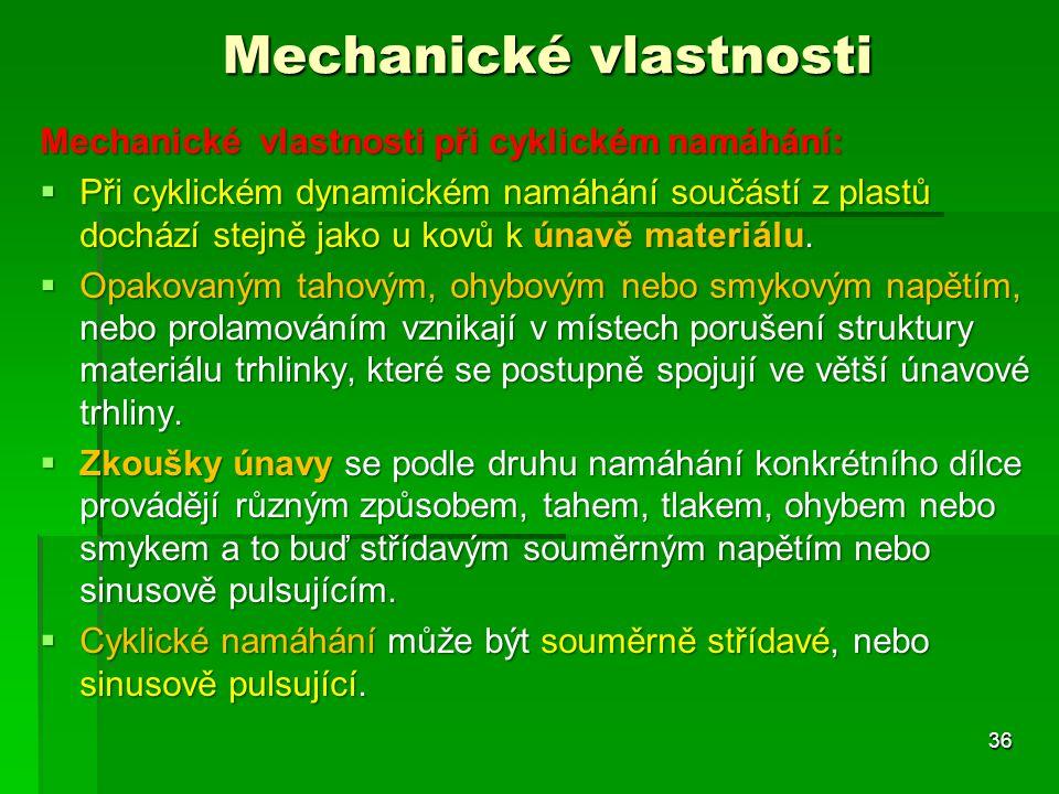 Mechanické vlastnosti Mechanické vlastnosti při cyklickém namáhání:  Při cyklickém dynamickém namáhání součástí z plastů dochází stejně jako u kovů k