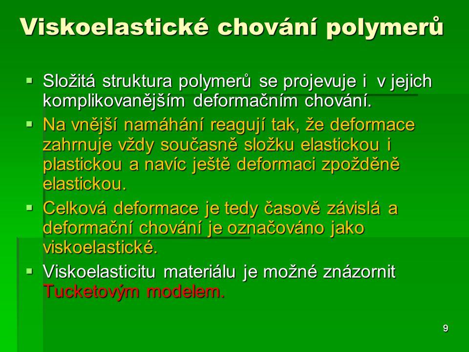  Složitá struktura polymerů se projevuje i v jejich komplikovanějším deformačním chování.  Na vnější namáhání reagují tak, že deformace zahrnuje vžd