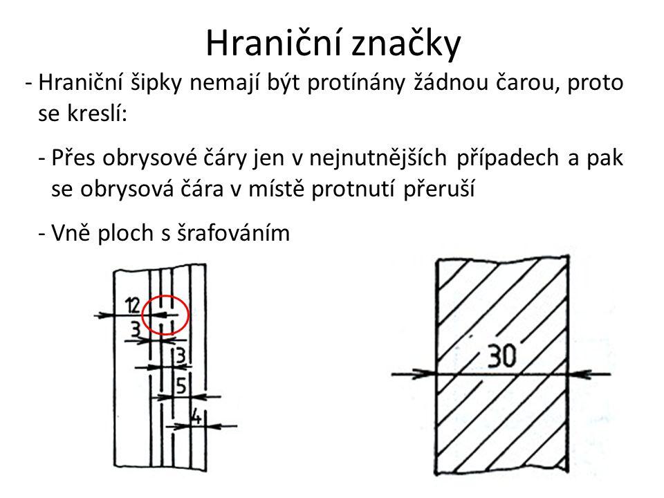 Hraniční značky -Hraniční šipky nemají být protínány žádnou čarou, proto se kreslí: -Přes obrysové čáry jen v nejnutnějších případech a pak se obrysov
