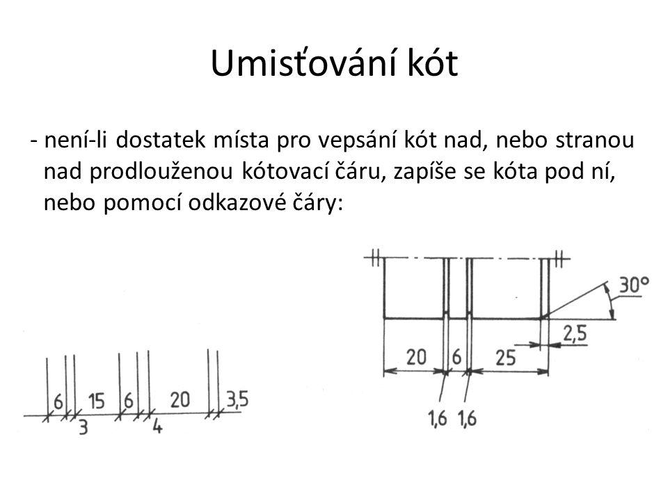 Umisťování kót - není-li dostatek místa pro vepsání kót nad, nebo stranou nad prodlouženou kótovací čáru, zapíše se kóta pod ní, nebo pomocí odkazové