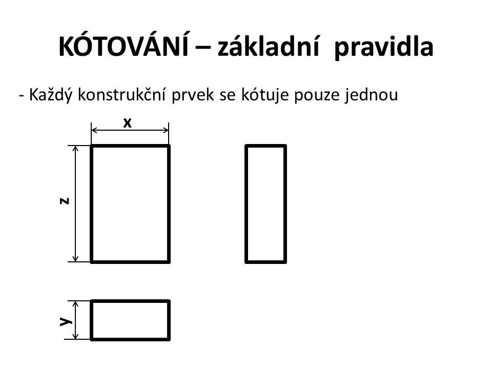 KÓTOVÁNÍ – základní pravidla - Každý konstrukční prvek se kótuje pouze jednou x z y