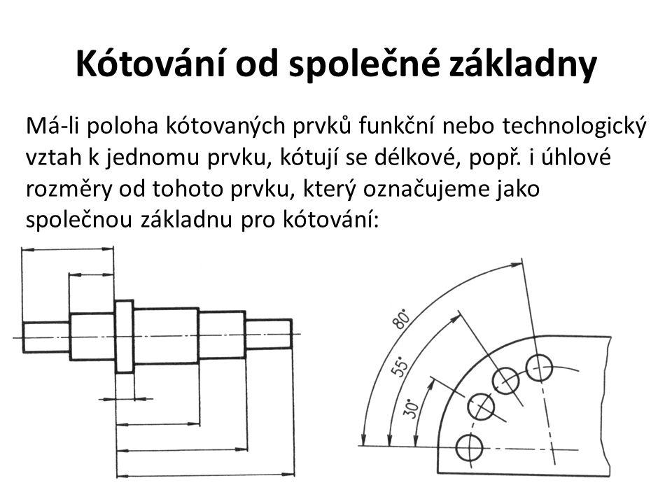 Kótování od společné základny Má-li poloha kótovaných prvků funkční nebo technologický vztah k jednomu prvku, kótují se délkové, popř. i úhlové rozměr