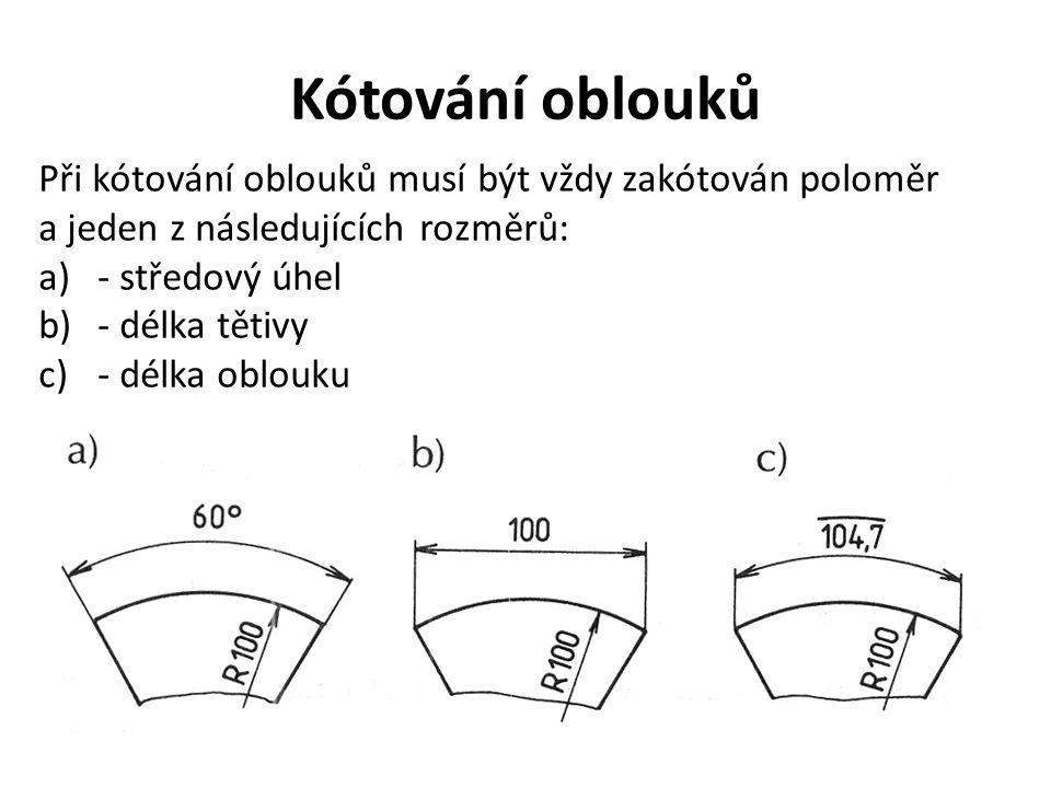 Kótování oblouků Při kótování oblouků musí být vždy zakótován poloměr a jeden z následujících rozměrů: a)- středový úhel b)- délka tětivy c)- délka ob