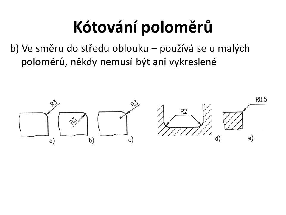 Kótování poloměrů b) Ve směru do středu oblouku – používá se u malých poloměrů, někdy nemusí být ani vykreslené