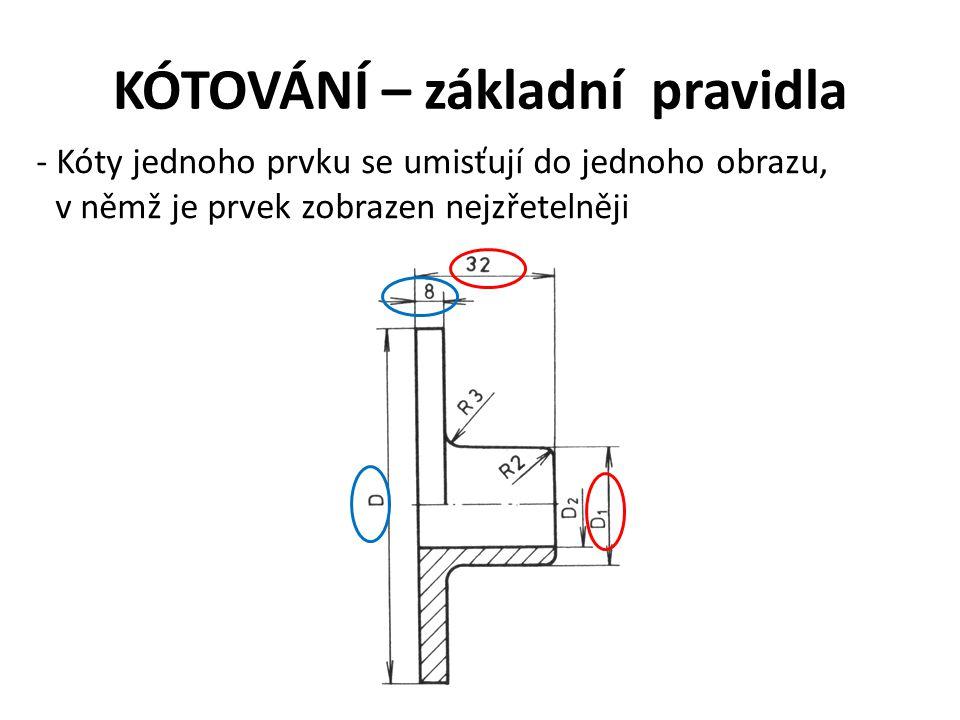 KÓTOVÁNÍ – základní pravidla - Kóty jednoho prvku se umisťují do jednoho obrazu, v němž je prvek zobrazen nejzřetelněji