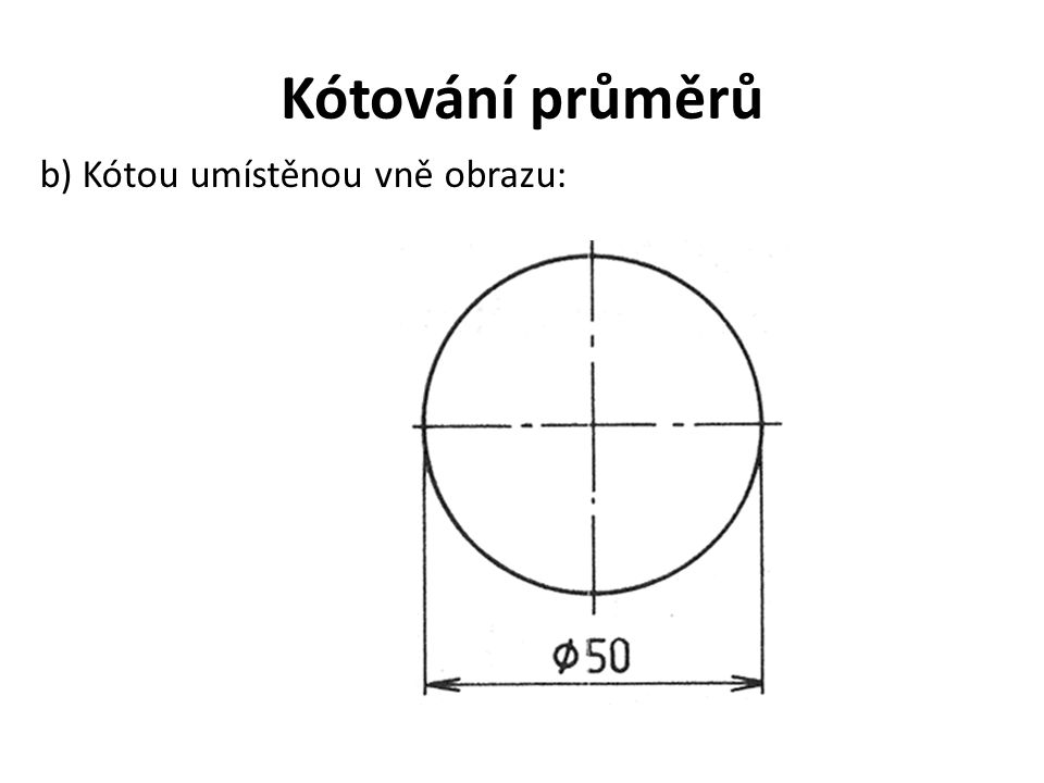 Kótování průměrů b) Kótou umístěnou vně obrazu: