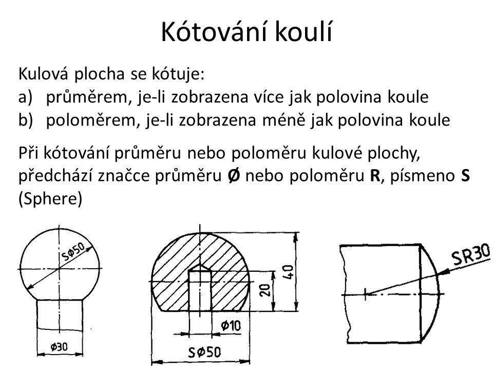 Kótování koulí Kulová plocha se kótuje: a)průměrem, je-li zobrazena více jak polovina koule b)poloměrem, je-li zobrazena méně jak polovina koule Při k