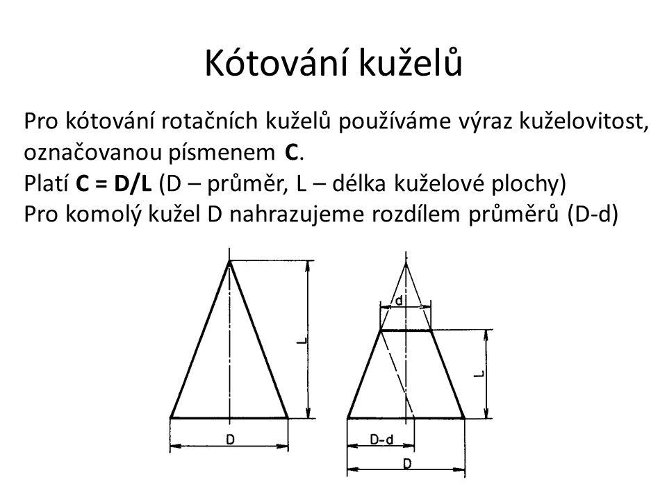Kótování kuželů Pro kótování rotačních kuželů používáme výraz kuželovitost, označovanou písmenem C. Platí C = D/L (D – průměr, L – délka kuželové ploc