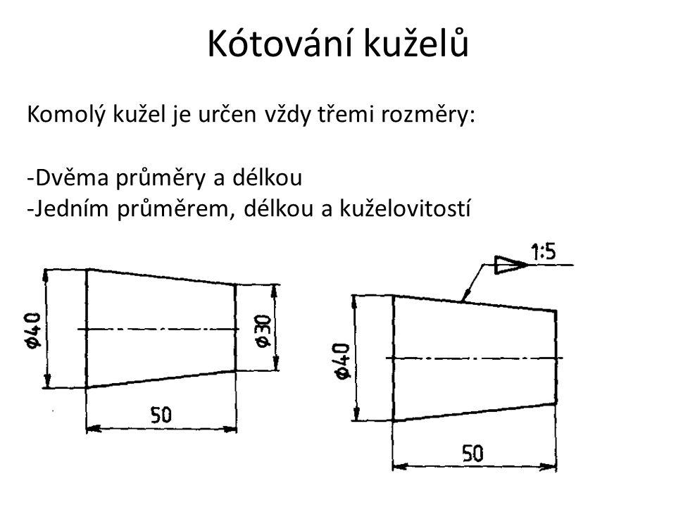 Kótování kuželů Komolý kužel je určen vždy třemi rozměry: -Dvěma průměry a délkou -Jedním průměrem, délkou a kuželovitostí