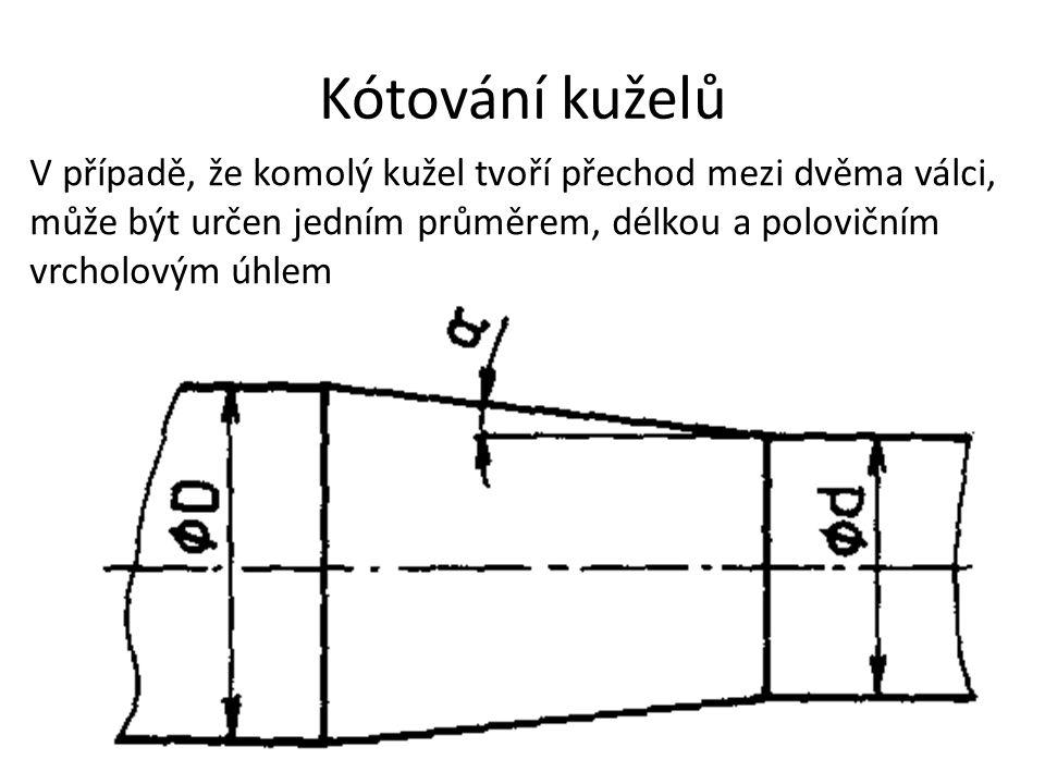 Kótování kuželů V případě, že komolý kužel tvoří přechod mezi dvěma válci, může být určen jedním průměrem, délkou a polovičním vrcholovým úhlem