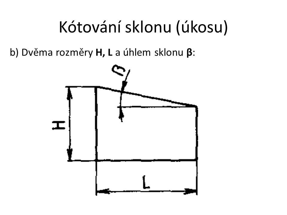 Kótování sklonu (úkosu) b) Dvěma rozměry H, L a úhlem sklonu β: