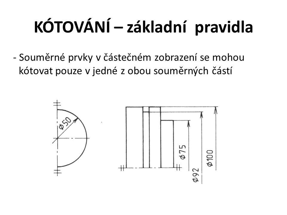 KÓTOVÁNÍ – základní pravidla - Souměrné prvky v částečném zobrazení se mohou kótovat pouze v jedné z obou souměrných částí