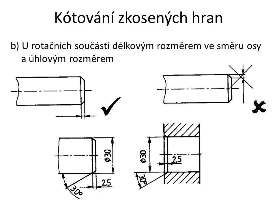 Kótování zkosených hran b) U rotačních součástí délkovým rozměrem ve směru osy a úhlovým rozměrem