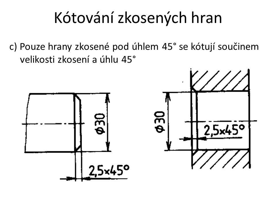 Kótování zkosených hran c) Pouze hrany zkosené pod úhlem 45° se kótují součinem velikosti zkosení a úhlu 45°