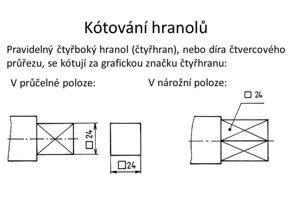 Kótování hranolů Pravidelný čtyřboký hranol (čtyřhran), nebo díra čtvercového průřezu, se kótují za grafickou značku čtyřhranu: V průčelné poloze: V n