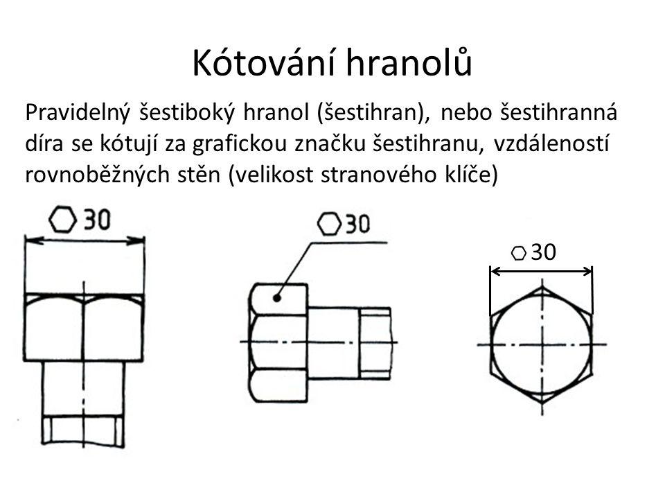 Kótování hranolů Pravidelný šestiboký hranol (šestihran), nebo šestihranná díra se kótují za grafickou značku šestihranu, vzdáleností rovnoběžných stě