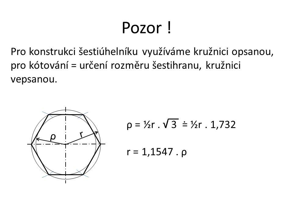 Pozor ! Pro konstrukci šestiúhelníku využíváme kružnici opsanou, pro kótování = určení rozměru šestihranu, kružnici vepsanou. r ρ ρ = ½r. √ 3 = ½r. 1,