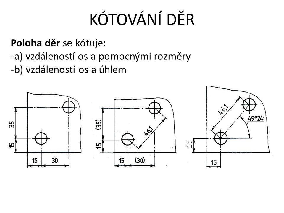KÓTOVÁNÍ DĚR Poloha děr se kótuje: -a) vzdáleností os a pomocnými rozměry -b) vzdáleností os a úhlem 15
