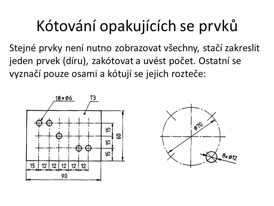 Kótování opakujících se prvků Stejné prvky není nutno zobrazovat všechny, stačí zakreslit jeden prvek (díru), zakótovat a uvést počet. Ostatní se vyzn